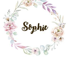 naamposter roze bloemen