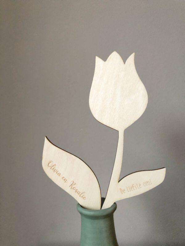 Houten bloem met tekst