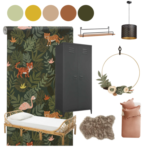 Moodboard jungle stoere kinderkamer